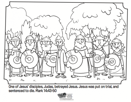 jesus is betrayed by judas free easter coloring page easter