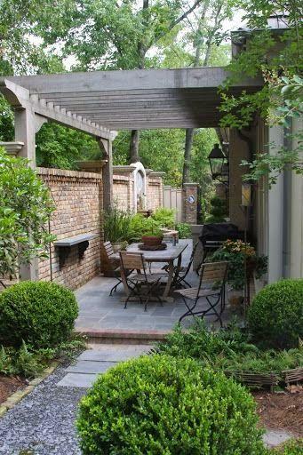 Fantastic design for narrow patio | Backyards Click | Backyard ...