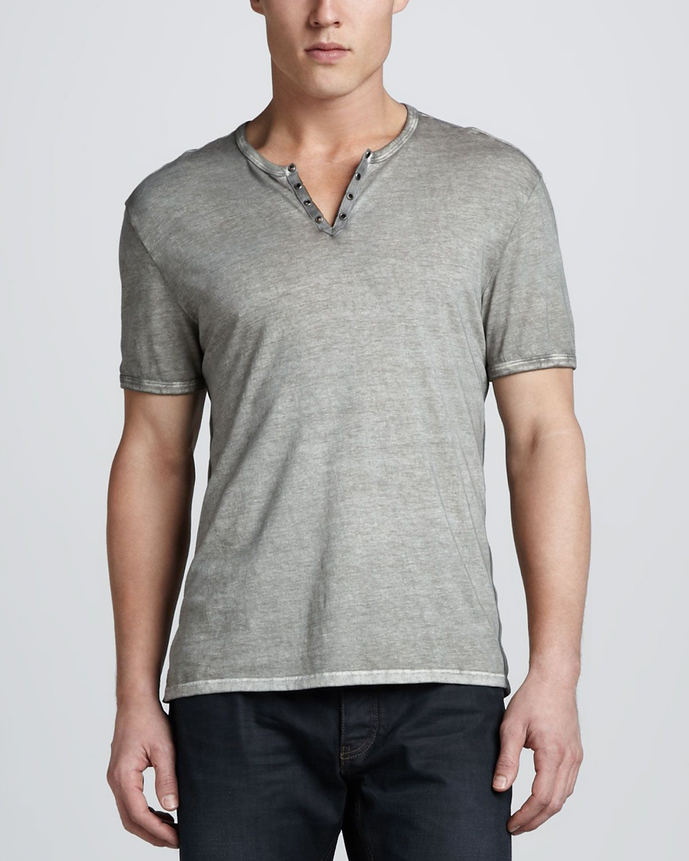 John Varvatos Star USA Mens Short Sleeve Garment Washed Henley Shirt