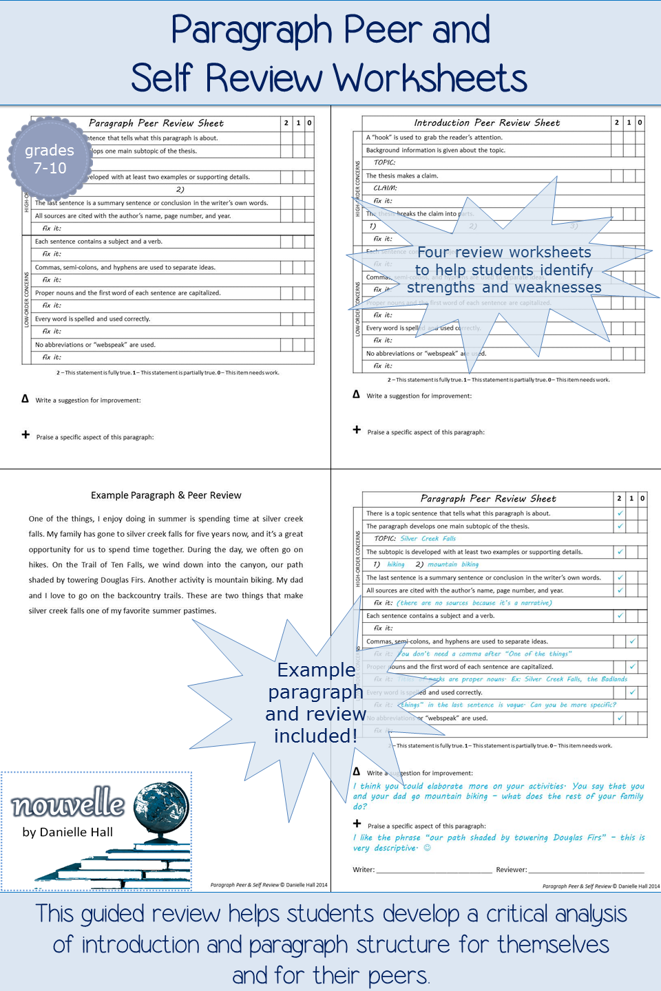 Paragraph Peer and Self Review Worksheets Sample Review included – Peer Review Worksheet