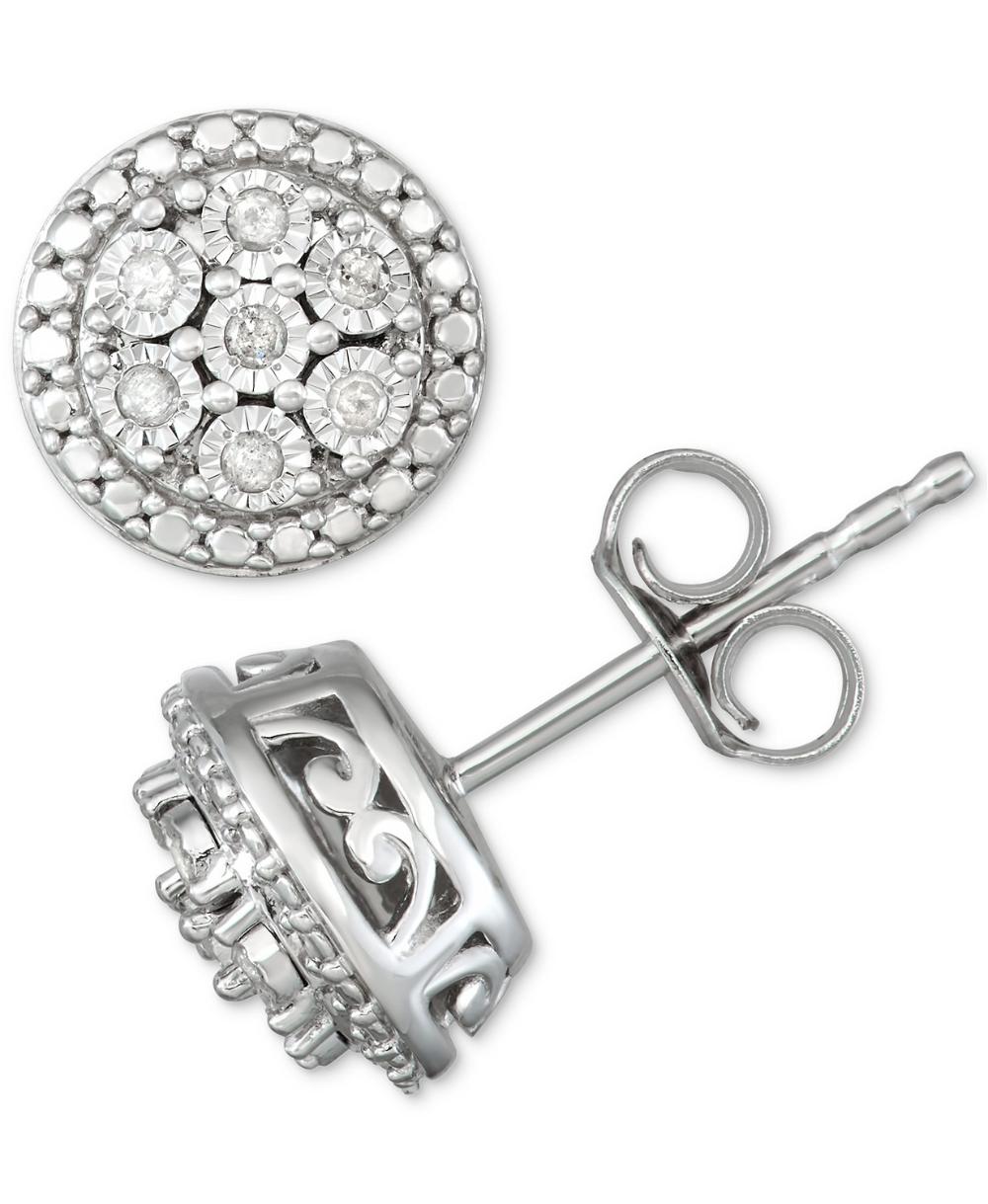 Macy S Diamond Cluster Stud Earrings 1 10 Ct T W In Sterling Silver Reviews Earrings Jewelry Watches Macy S Silver Earrings Studs Diamond Earrings Studs Sterling Silver Earrings Studs