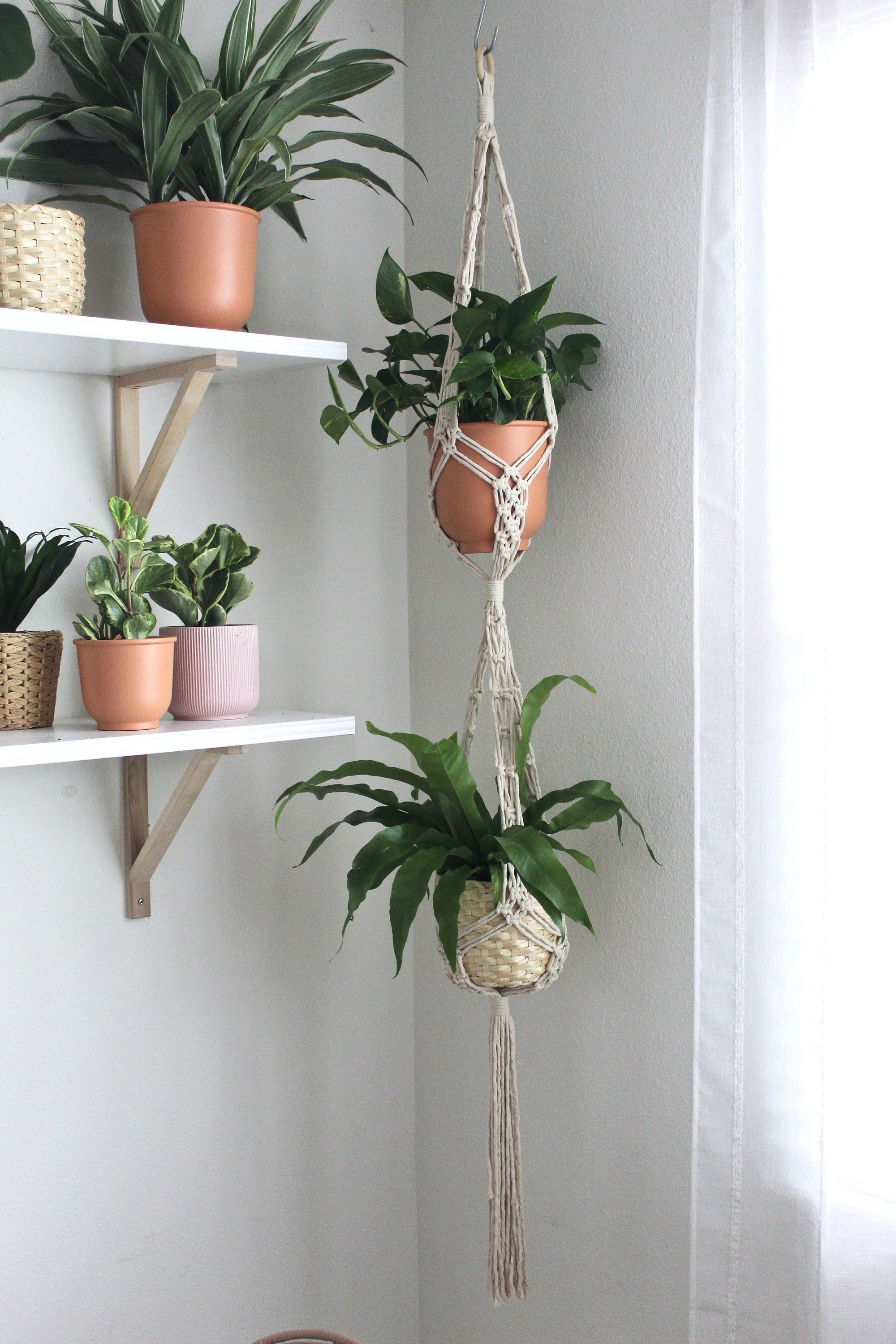 Double Macrame Plant Hanger Hanging Plant Indoor Plant Stand