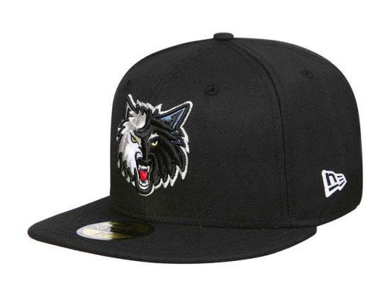 d91876eb70e Minnesota Timberwolves Black 59Fifty Fitted Baseball Cap by NEW ERA x NBA