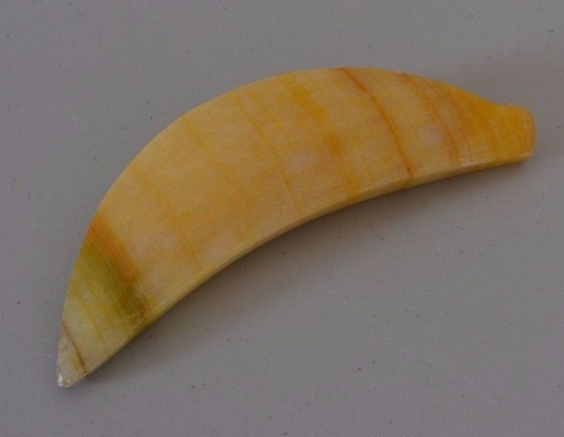 Vintage Alabaster Marble Stone Fruit Carved Heavy Muted Banana 5