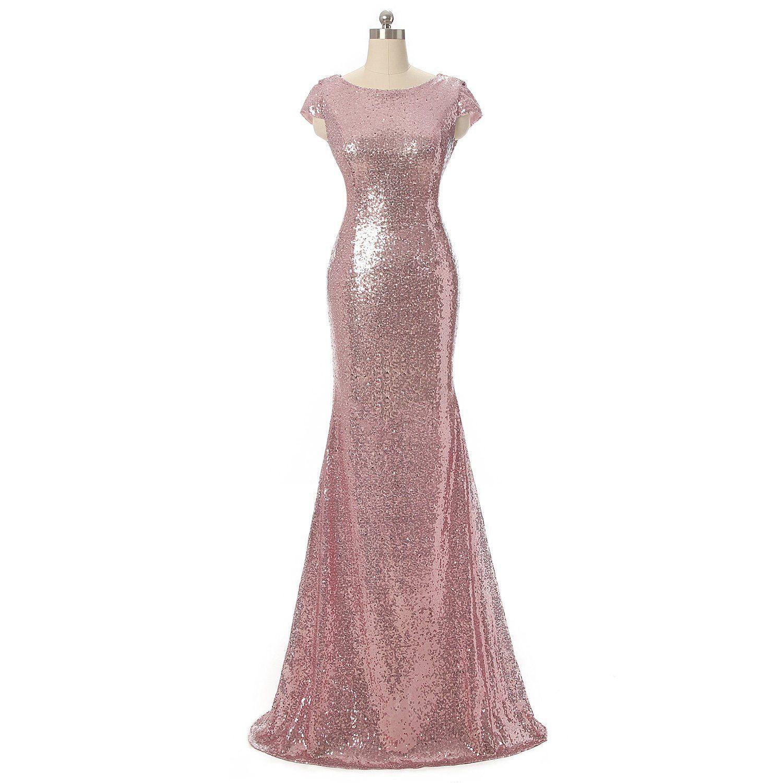 long rose gold sequins bridesmaid dress evening dress am