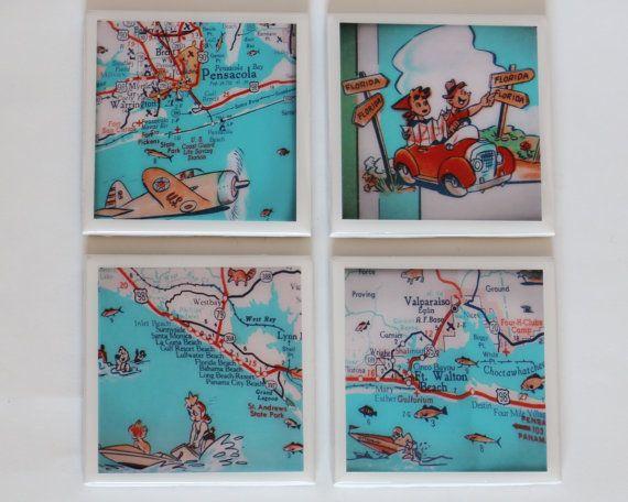 Florida Panhandle Beaches Map.Florida Panhandle Beach Map Drink Coasters By Retroseashoredecor