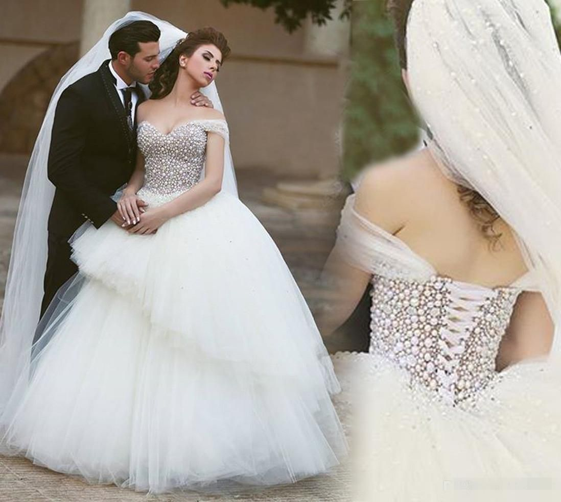 2016 Luxury Pearls Beaded Ball Gown Wedding Dresses Cinderella ...