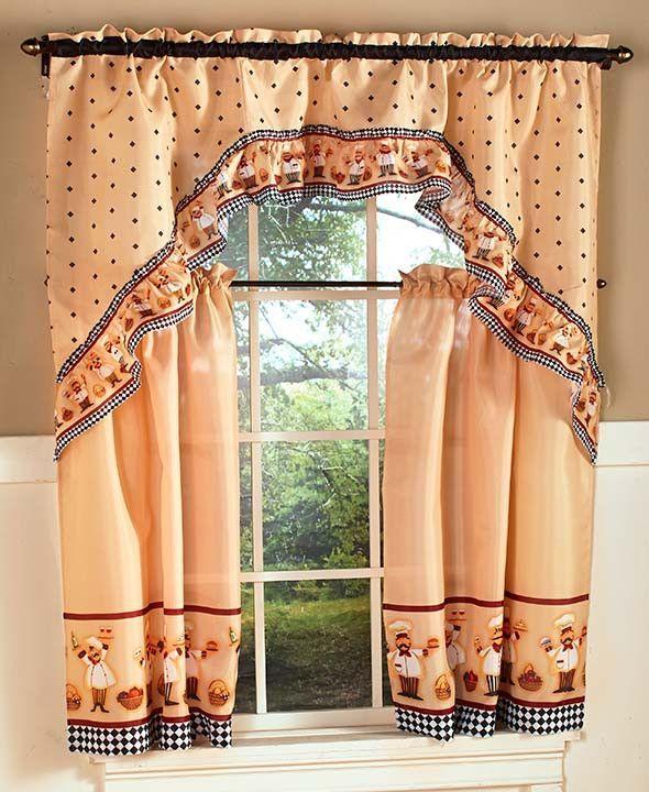 Chef Theme Kitchen 3 Pc Curtain Set Braided Rug Tuscan Italian Home Decor