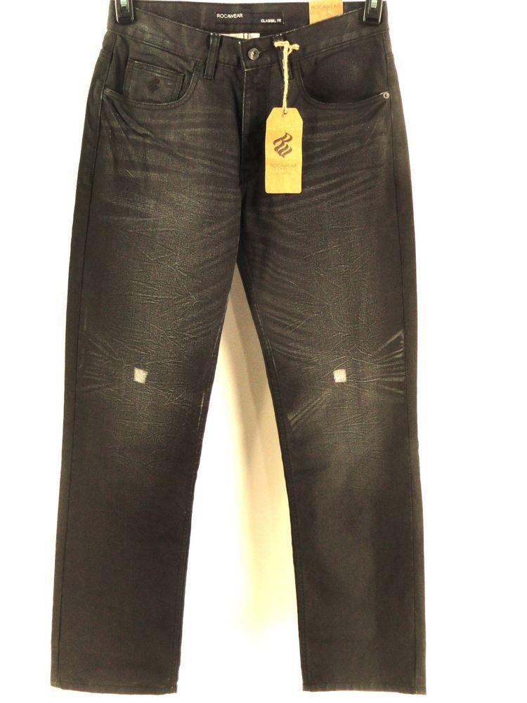4f421f78 ROCAWEAR NEW MENS $54.50 BLACK COATED CLASSIC FIT STRAIGHT LEG JEANS sz 36 # Rocawear #ClassicStraightLeg