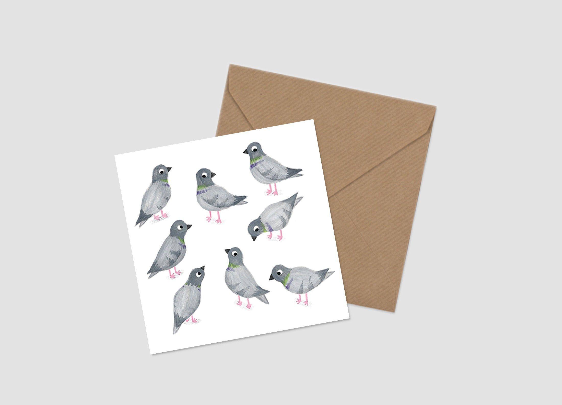 pigeon card  birthday card  blank card  bird card