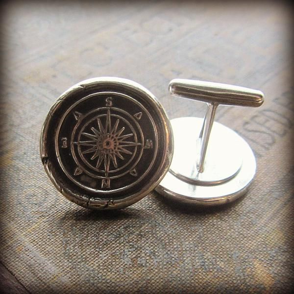 A pair of silver compass cuff links symbolic of direction and the infinite amount of possibilities that lie ahead of you. Handcrafted of fine silver, let them inspire you to be in charge of your own destiny.