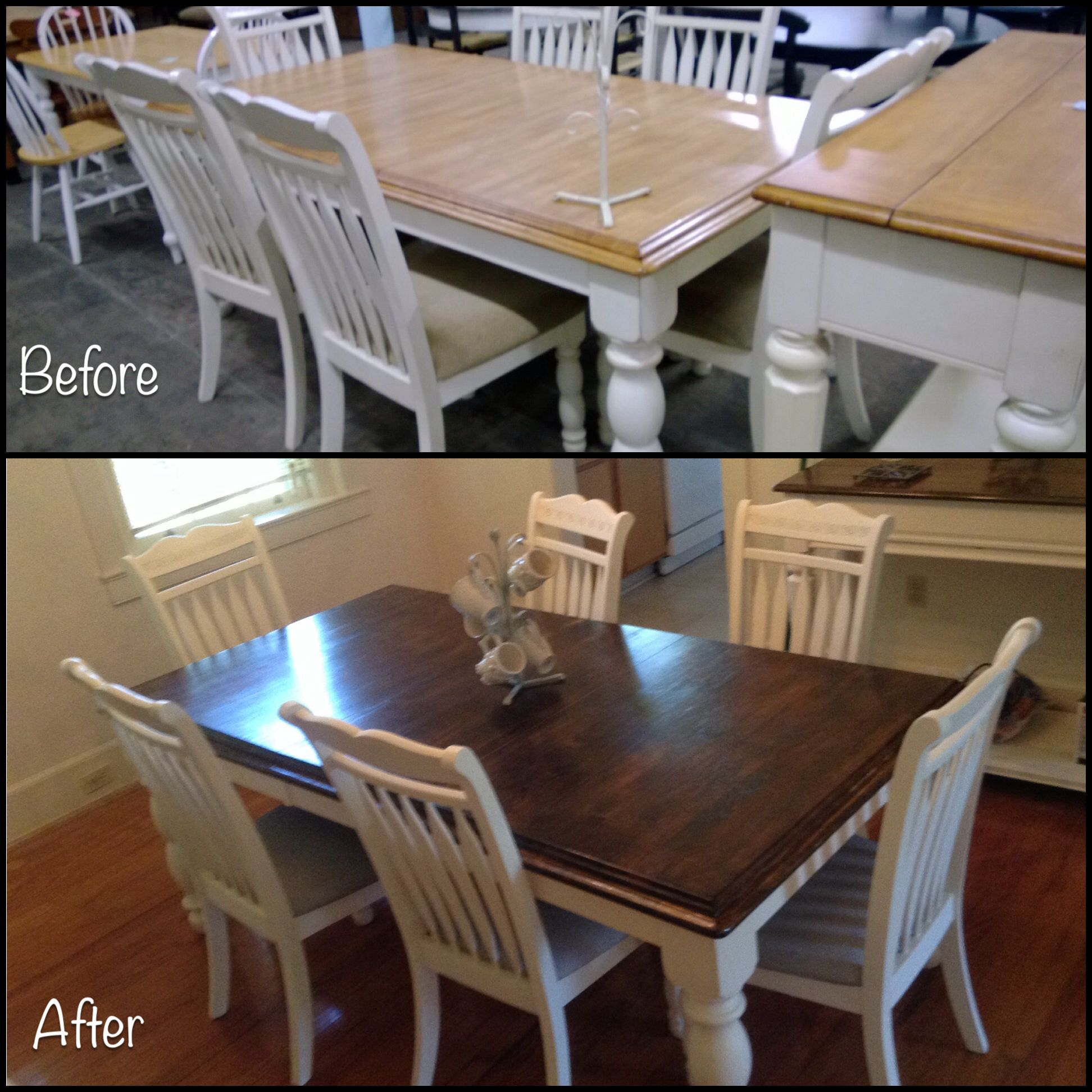 A dining table we purchased at a thrift store sanded wish I knew