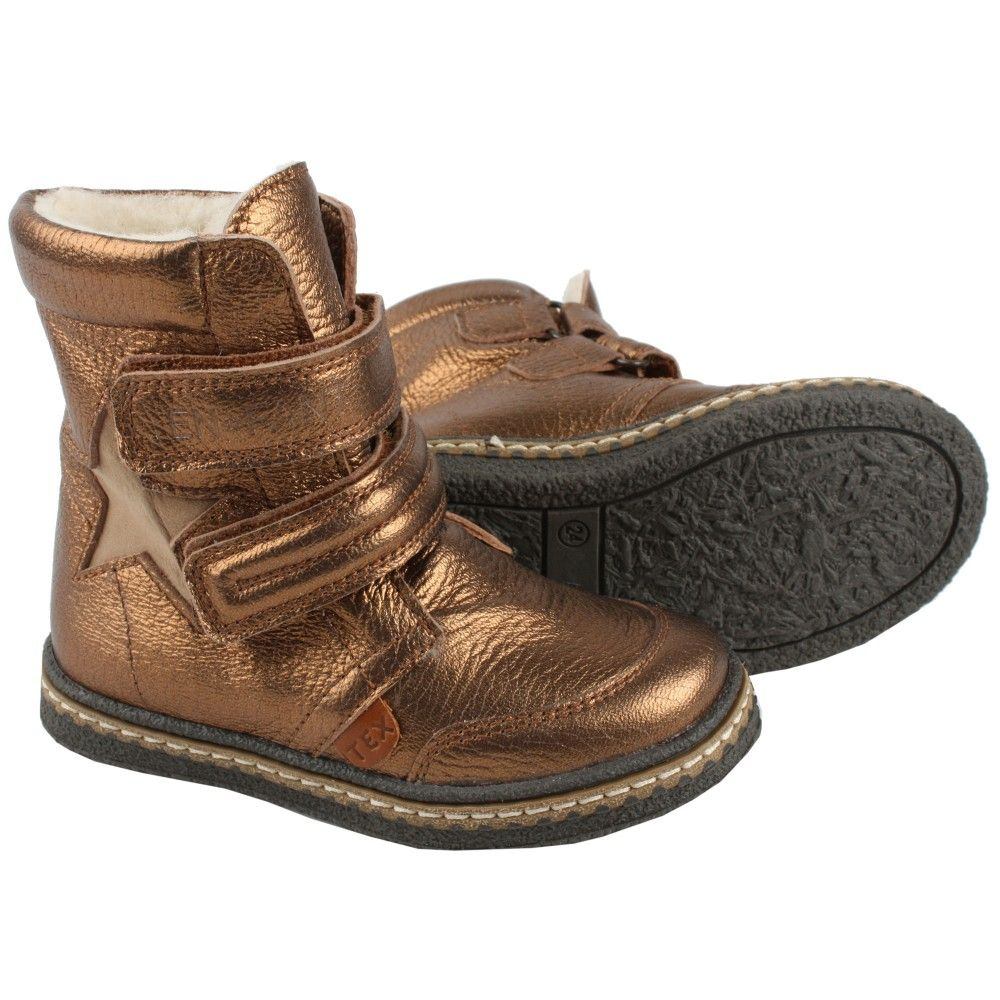 EN FANT Girls Copper Leather Ankle Boots with Velcro | SHOES KIDS ...
