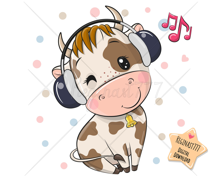 Cute Cartoon Bull Png Music Digital Download Clipart Etsy In 2021 Baby Animal Drawings Cute Cartoon Wallpapers Cartoon Cow