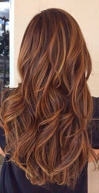 Long Hair With Caramel Highlights This Hair Is In Chocolate Brown