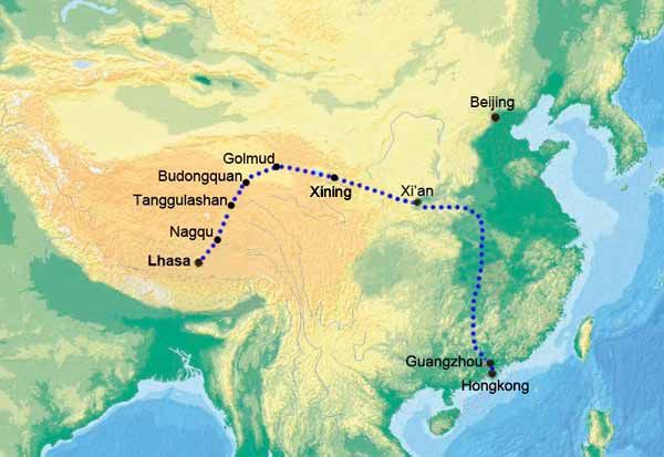 Lhasa China Map.Map Of Guangzhou Lhasa Train Route Train To Tibet Map Pinterest