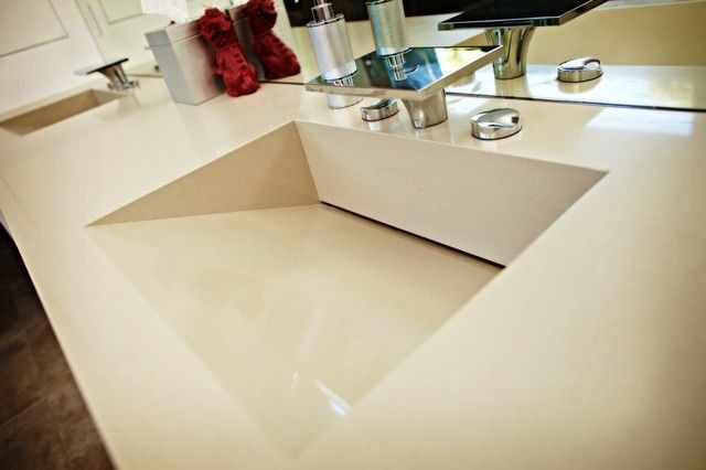 Cute Sink In Taupe Hues Of Quartz Bathroom Vanity Tops