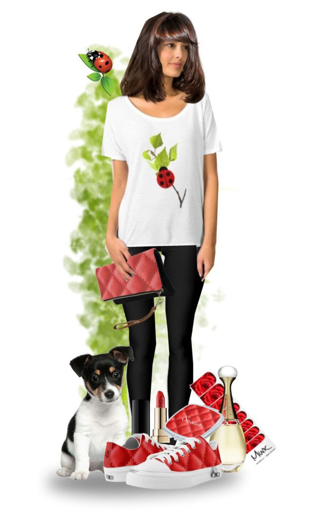 """Ladybug T-shirt"" by sgolis ❤ liked on Polyvore featuring MINX, Dolce&Gabbana, Christian Dior, Zipz and modern"