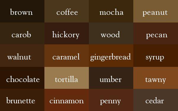 Brown Color Names Colors Hair Dark