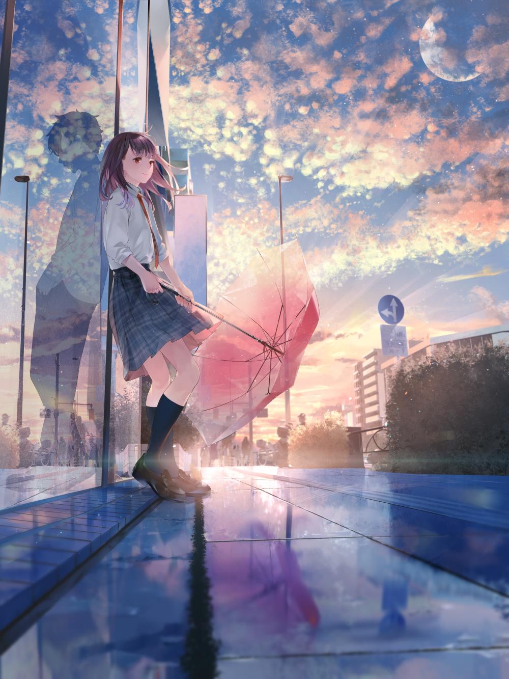 After Rain Original Seni Perkotaan Anime Neko Latar Belakang Animasi