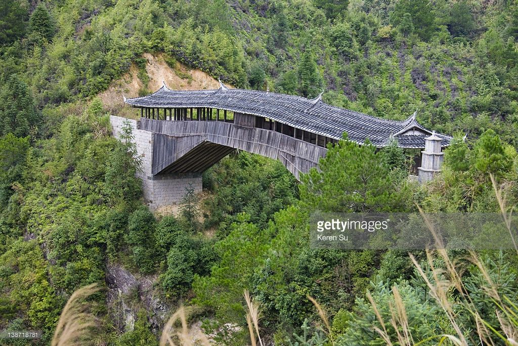 Jinzao Bridge Traditional Wooden Covered Bridge In The Mountain Covered Bridges Bridge The Mountain