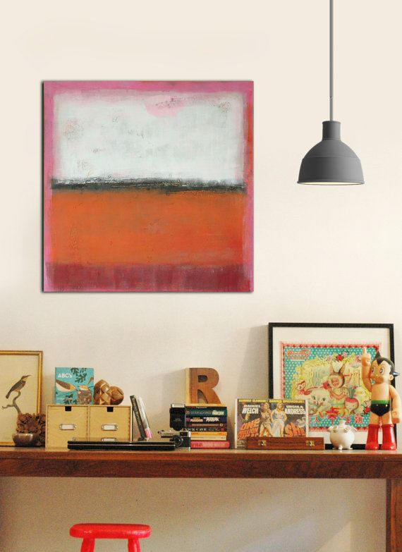 Original Abstract painting  RAW Orange and Pink  by RonaldHunter, $319.00