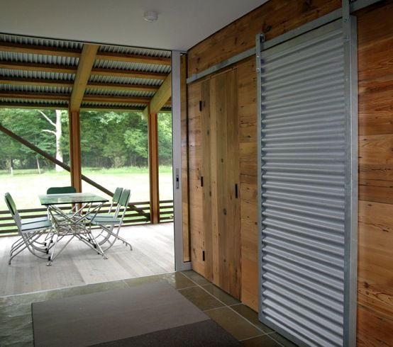 Framed Corrugated Steel Barn Door Exterior Detail