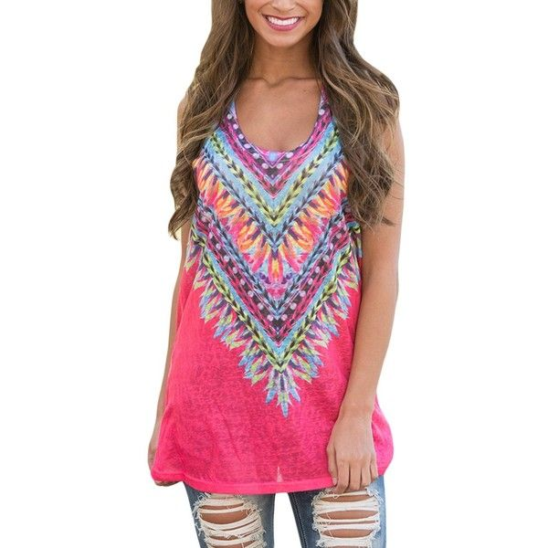 94c2beef6661a Elapsy Womens Summer Tribal Colorful Print Sleeveless Loose Tunic Tank...  ( 30)