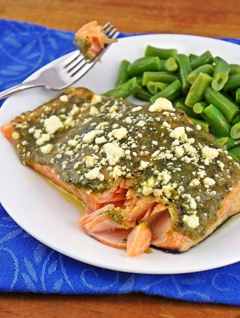 Baked Salmon with Pesto and Salmon.  If you're a pesto fan, and a salmon lover, than this is a no-brainer for you