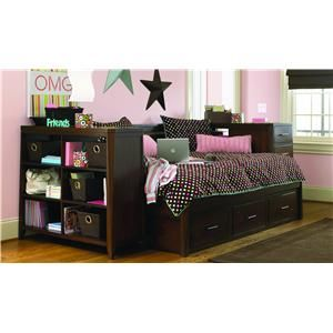 Day Beds With Trundle Kendall Full Daybed Bookcase Storage And Pier By Opus