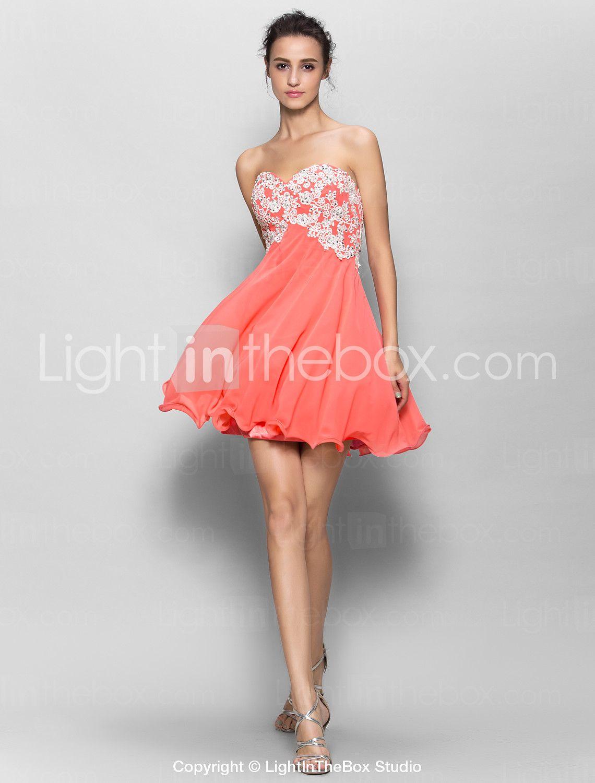 69e44e3477e0 Short/Mini Chiffon Bridesmaid Dress - Watermelon A-line Sweetheart 2015 –  $79.99