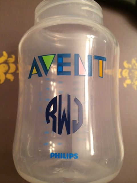 3 one inch monogram vinyl decals perfect for bottles sippy cups etc on
