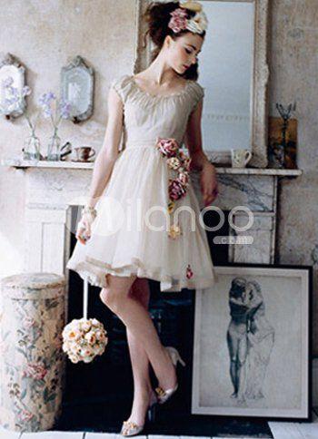 cascading flowers    http://www.milanoo.com/Champagne-A-line-Short-Satin-Mini-Wedding-Dress-p10380.html