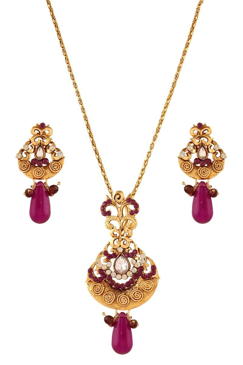 Purple gold plated austrian diamond pendant set jewellery on