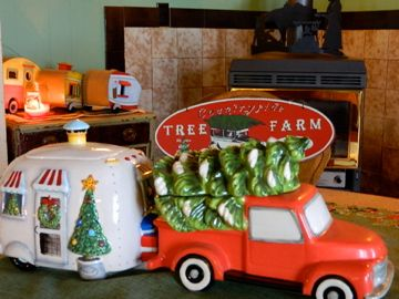 Girl Camping Camping It Up For Christmas Decor Airstream Trailer Red Truck Glamping Christmas Christmas Decorations Christmas Trailer