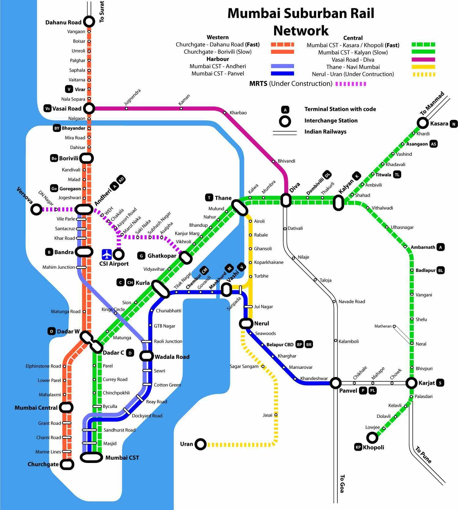 Mumbai suburban rail map Train map, Local train map, Map