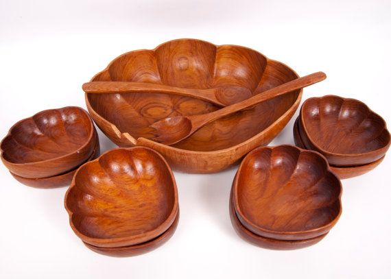 Vintage Wood Salad Bowl With Serving Bowls Salad Tossers Monkey Pod