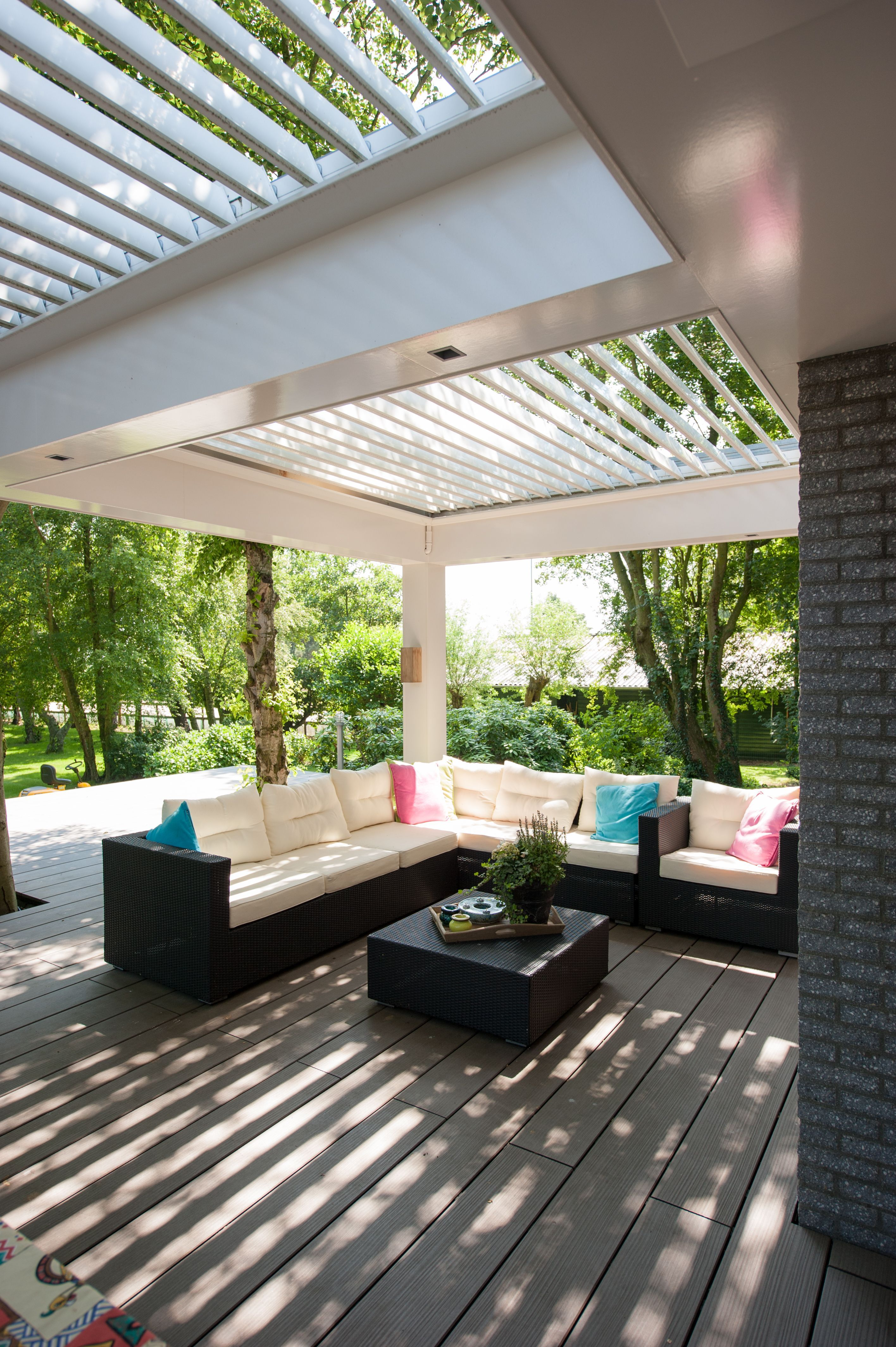 Outdoor Room Featuring Opening Louvre Roofs Outdoor Rooms Backyard Patio Patio Design
