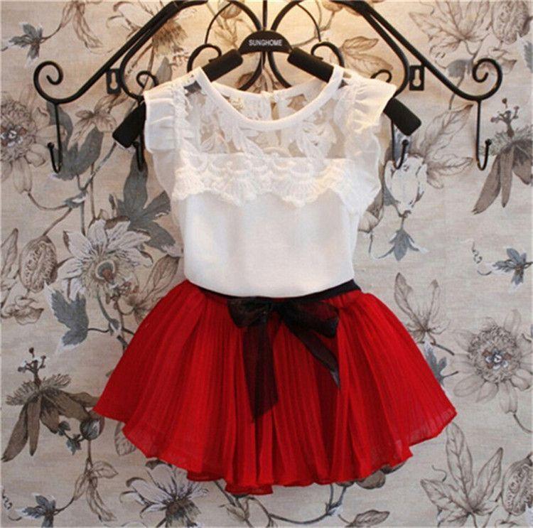 2pcs Summer Baby Girls Skirt Outfit Set Children Kids Toddler t-Shirt Tank Tops Polka Dot Pleated Mini Skirt Clothes Suit