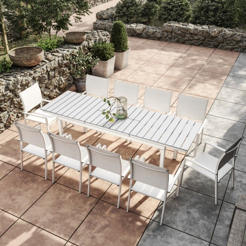 Table De Jardin Extensible Aluminium 180 240cm Blanc Gris 10