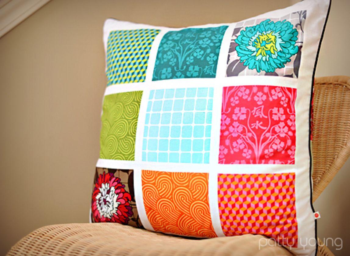 Quieres hacer este coj n de patchwork paso a paso es muy sencillo y el resultado precioso el - Cojines de patchwork ...