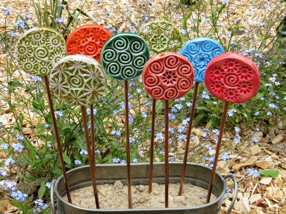 keramik pflanzenstecker beetstecker gartenstecker von gedemuck t pfern pinterest. Black Bedroom Furniture Sets. Home Design Ideas