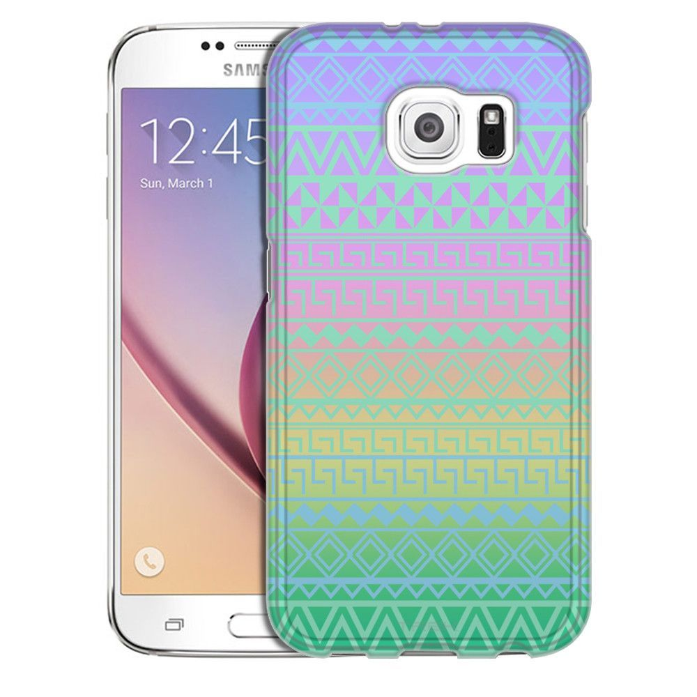 Samsung Galaxy S6 Aztec Andes Green Turquoise Tribal on Rainbow Slim Case