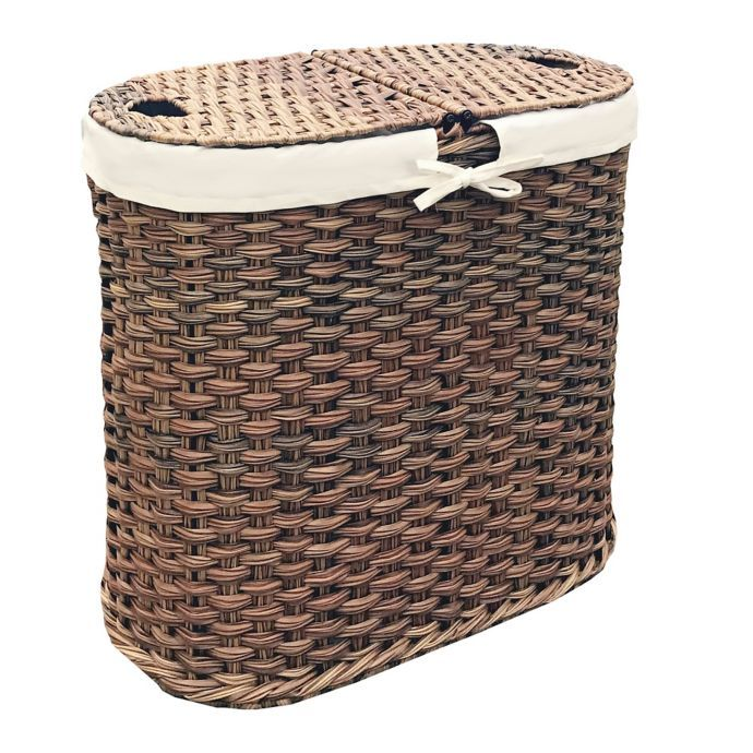 Seville Classics Hand Woven Oval Double Laundry Hamper In Mocha With Images Laundry Hamper Double Laundry Hamper Double Hamper