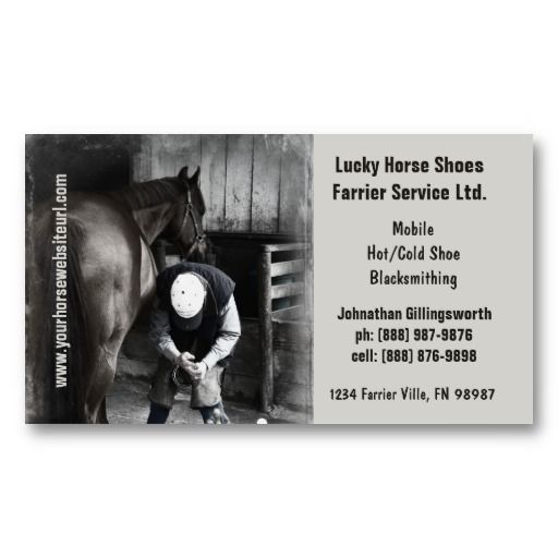 Farrier Horseshoe Horse Hoof Services Business Card Zazzle Com Farrier Pack Of Cards Printing Double Sided