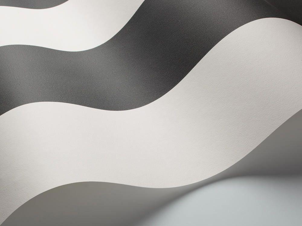 Papel pintado rayas anchas en color negro telas papel for Papel pintado rayas negras y blancas