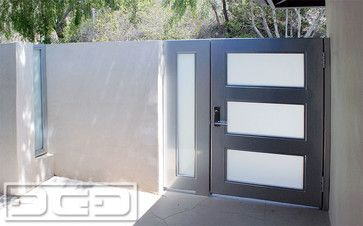 modern steel glass entry gates with