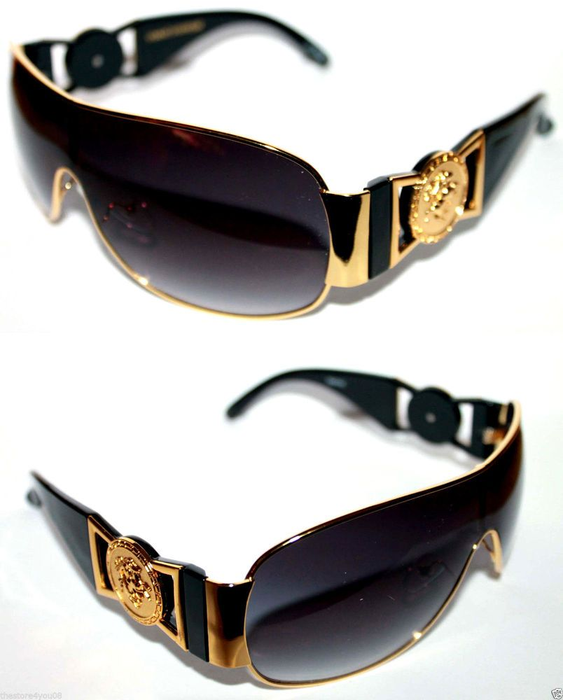 80ca2e9c3f6 Medusa Metal Gold Logo Black Gold Shield Aviator Sunglasses Vintage 80 s Hip  Hop