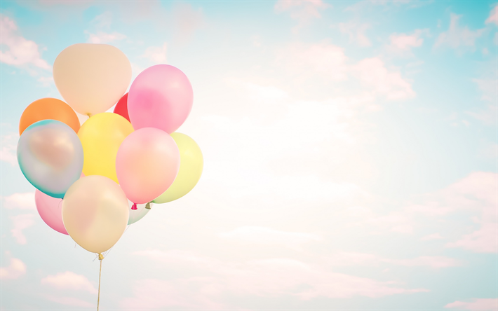 Download Wallpapers Bunch Of Balloons Multicolored Inflatable Balls Sky Clouds Colored Balloons Besthqwallpapers Com Balloons Birthday Background Birthday Illustration