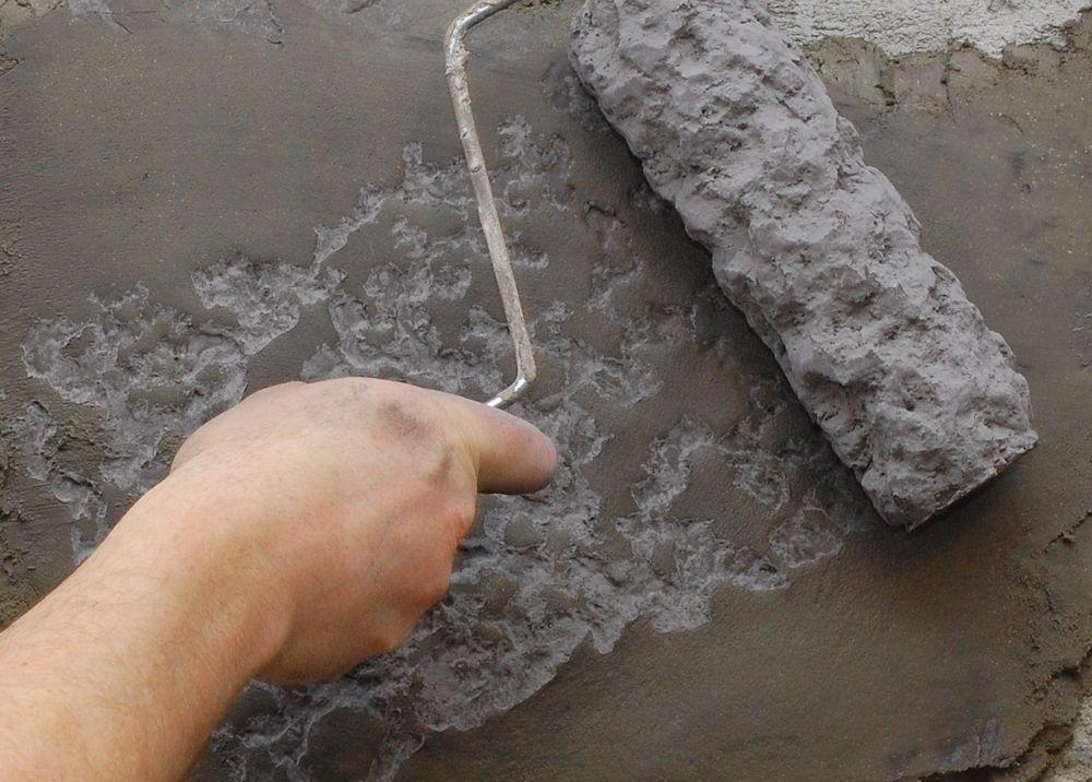 Vertical Concrete Tru Texture Roller Sleeve Rough Stone Stamped Concrete Patterns Painted Concrete Floors Faux Stone Walls